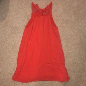 Coral, high neck dress